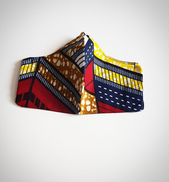 Ankara/African Wax Fabric Face Mask Yellow/Red/Navy/Black