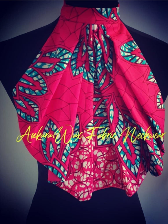 Handmade African/Ankara Fabric Collar Neckwear in Vibrant Pink with tones of blue and white