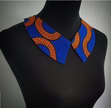 Load image into Gallery viewer, Handmade Royal blue and mustard African wax/Ankara/Kitenge fabric collar necklace