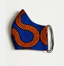 Load image into Gallery viewer, Royal blue/Mustard Reusable African Fabric Wax/Ankara fabric face Mask