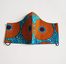 Load image into Gallery viewer, Lighy Blue/Mustard Reusable African/Wax Fabric Face Mask