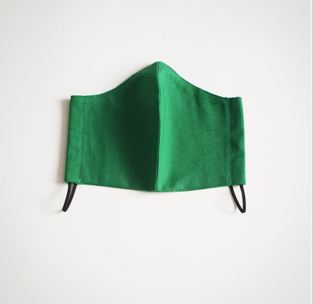 Green Cotton fabric face mask