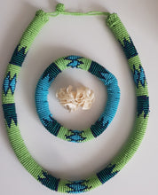 Load image into Gallery viewer, Blue/Lime Green Ndebele Set with matching bangle