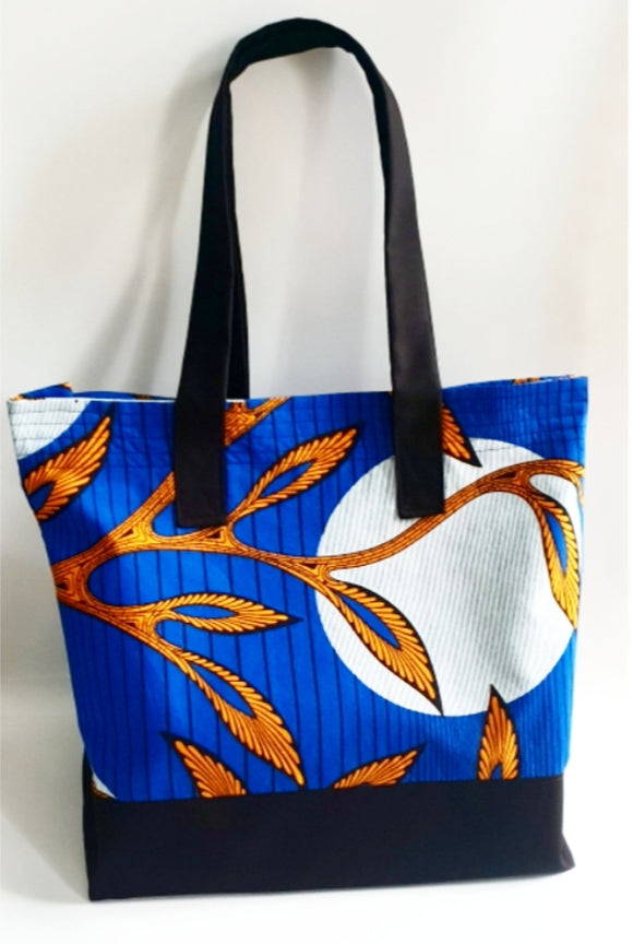 Large Ankara African Wax Fabric Tote in Blue/Mustard/Gold Colours