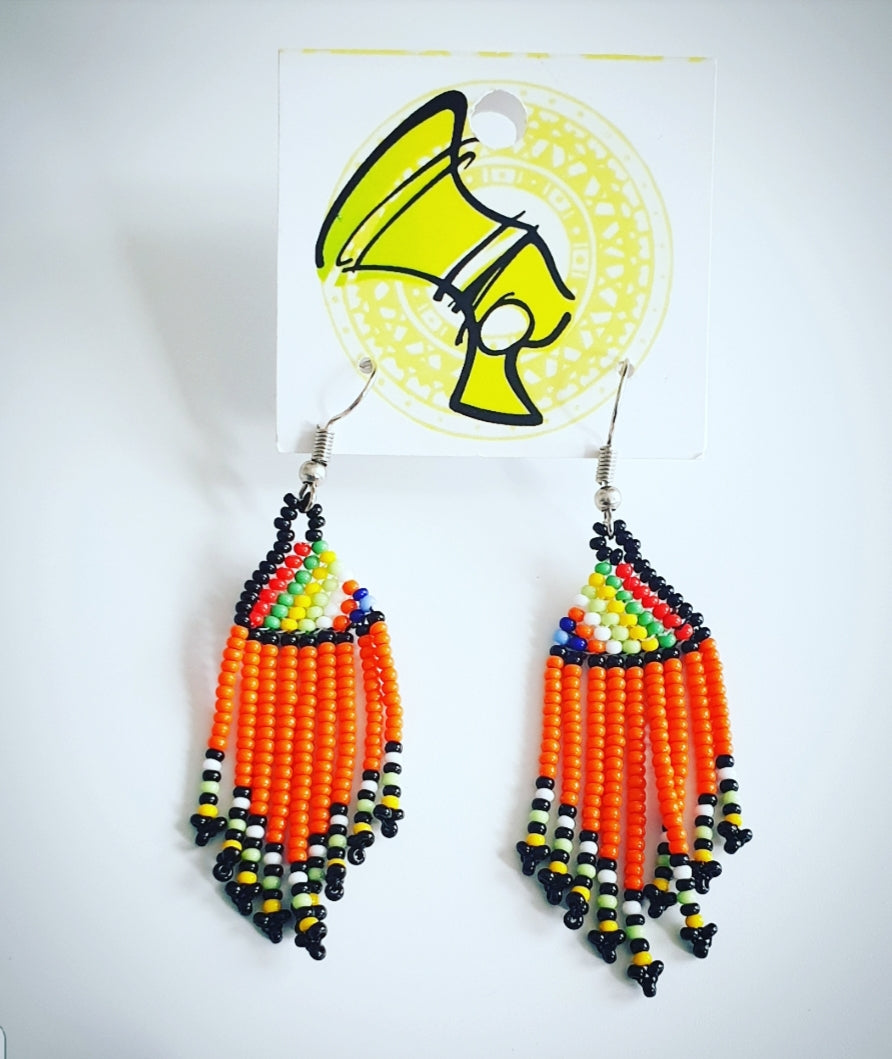 Orange Ndebele Tassel Earings