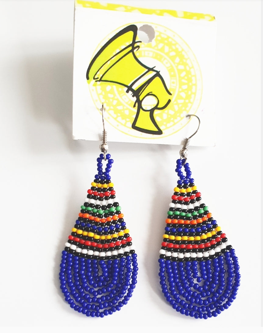Blue Pear Drop Ndebele Earings
