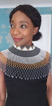 Load image into Gallery viewer, Tayla gold, black and while Zulu choker Necklace
