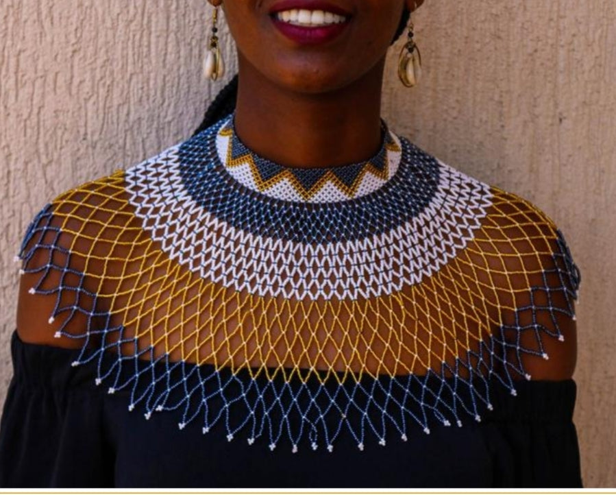 Tayla gold, black and while Zulu choker Necklace