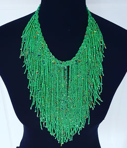 Jamiliah Green tassel Boho Necklace