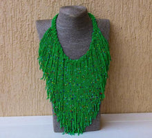 Load image into Gallery viewer, Jamiliah Green tassel Boho Necklace