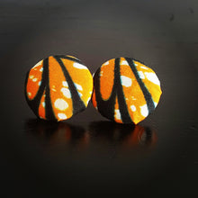 Load image into Gallery viewer, Orange and Black Floral Ankara Cotton Fabric Button Earings