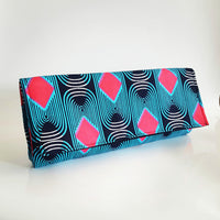 Red Diamond, Handmade African/Ankara Wax fabric  print blue and red Clutch