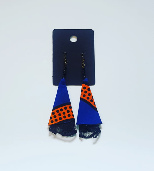 Royal blue and mustard fabric earings with black lace  free shipping!