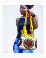 Load image into Gallery viewer, Handmade Ankara African Wax Tote bag, 100% cotton tote bag in mustard yellow floral and heart shaped print