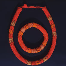 Load image into Gallery viewer, Orange Ndebele Choker Set with matching bangle