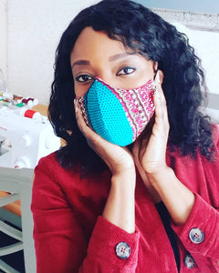 Ankara/African Wax Fabric Face Mask Blue/Maroon