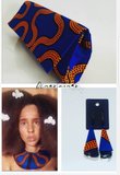 Handmade Royal blue and mustard African wax, Ankara/kitenge collar bib necklace
