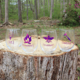 Lit, Buzzed, Hammered and Toasted Set of Wine Glasses