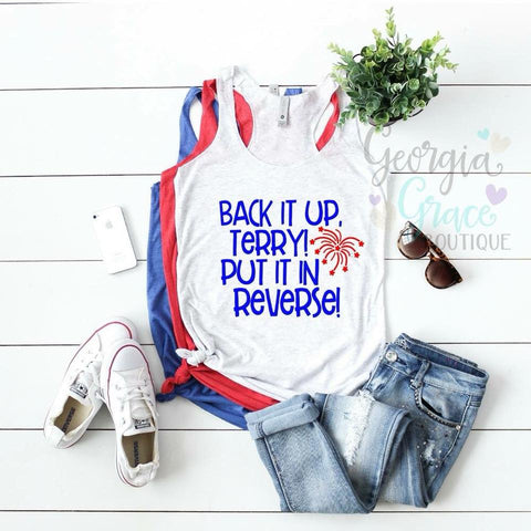 Back It Up Terry Flowy Tank Top / 4th of July Shirt