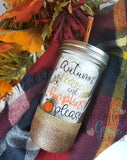 Autumn Leaves and Pumpkins Please Mason Jar Tumbler