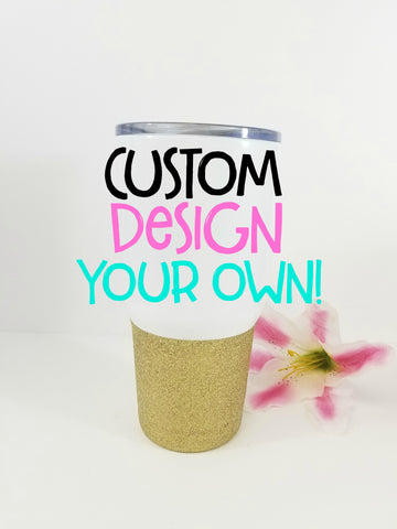 Custom 30 oz Vacuum Insulated Stainless Steel Glitter Dipped Tumbler