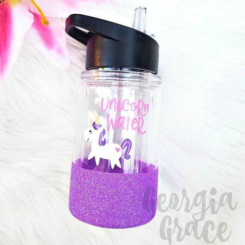 Unicorn Water Kid's Glitter Dipped Water Bottle // Glitter Water Bottle // Water Bottle for Kids
