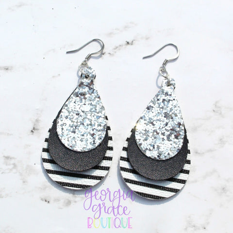 Shana Earrings - Leather Glitter Earrings