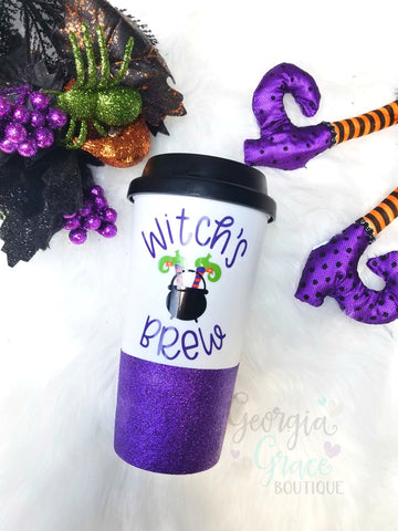 Witch's Brew Glitter Dipped Travel Tumbler