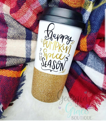 Happy Pumpkin Spice Season Coffee Tumbler // Fall Mug // Halloween Tumbler