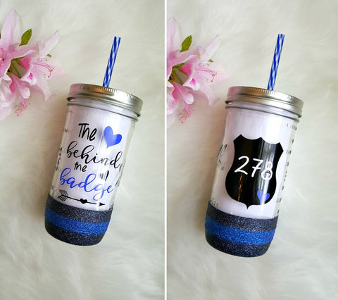 Police Wife Striped Glitter Mason Jar Tumbler // The Heart Behind the Badge // Glitter Cup