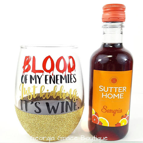 Blood of My Enemies Glitter Wine Glass // Glitter Wine Glass // Halloween Cup