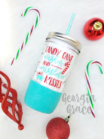 Candy Cane Wishes and Mistletoe Kisses Glitter Dipped Tumbler
