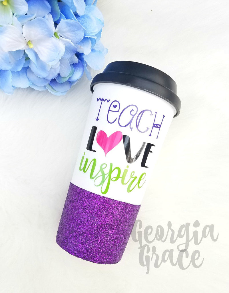 f6234612876 Teacher Glitter Coffee Tumbler // Teacher Appreciation Gift // Teach ...
