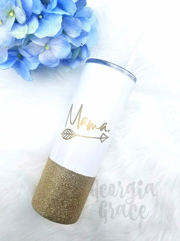 NEW!! Mama Skinny Vacuum Insulated Stainless Steel Glitter Dipped Tumbler // Glitter Cup // Mama Tumbler
