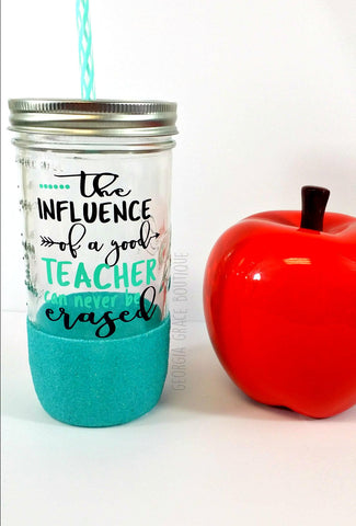 Teacher Glitter Mason Jar Tumbler // Teacher Appreciation Gift // Teacher Tumbler // The Influence of a Good Teacher