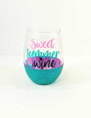 Watermelon Glitter Dipped Wine Glass // Glitter Cup // Sweet Summer Wine Glass