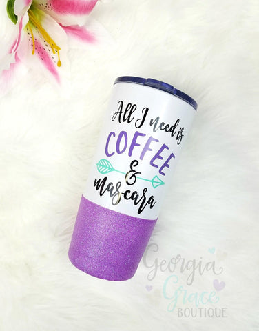 NEW and on SALE!!! 20 oz Vacuum Insulated Stainless Steel Glitter Dipped Tumbler // Glitter Cup //