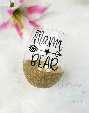Mama Bear Glitter Dipped Wine Glasses // Glitter Cup // Mom Wine Glass