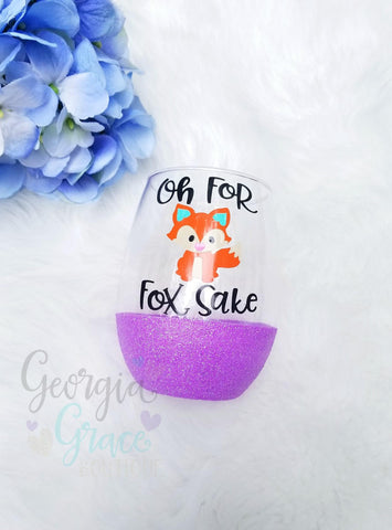 ON SALE! For Fox Sake Glitter Dipped Wine Glass // Glitter Cup // Fox Wine Glass