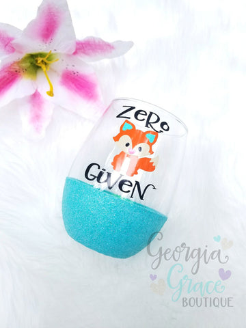 ON SALE! Zero Fox Given Glitter Dipped Wine Glass // Glitter Cup // Fox Wine Glass