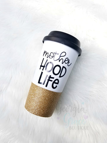 Motherhood Life Coffee Cup // Glitter Cup // Cup for Mom //  Glitter Dipped Coffee Tumbler