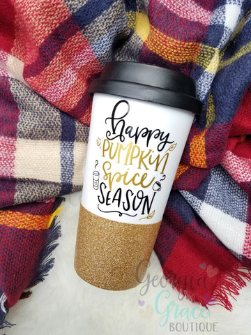 Happy Pumpkin Spice Season Coffee Cup // Glitter Cup