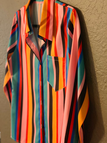"""COLOR INSIDE THE LINES"" BUTTON UP SHIRT"