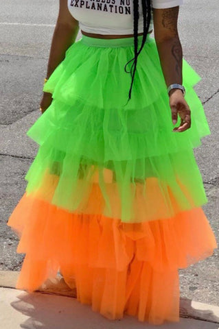 """Partytime"" Skirt (Lime/Tangerine)"