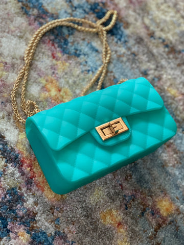 "THE ""CHAIN REACTION"" CROSSBODY (aqua)"