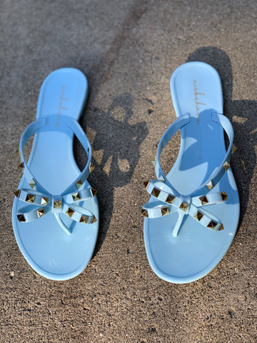 "THE ""BOW-TIE"" JELLY SANDALS (POWDER BLUE)"