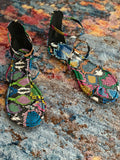 """RAINBOW SNAKE"" STRAPPY TOE SANDALS"