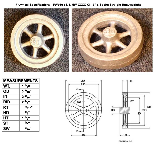 "3"" Flywheel 6-Spoke Straight Heavyweight"