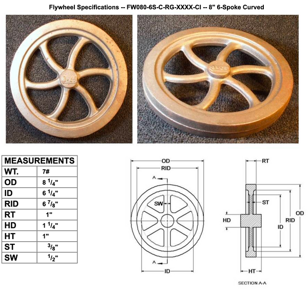 "8"" Flywheel 6-Spoke Curved"