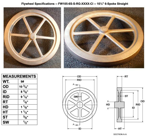 "10½"" Flywheel 6-Spoke Straight"